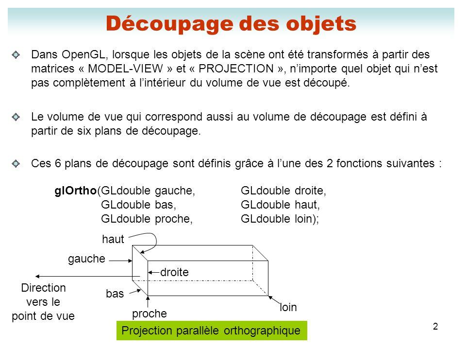 2 Découpage des objets Dans OpenGL, lorsque les objets de la scène ont été transformés à partir des matrices « MODEL-VIEW » et « PROJECTION », nimport
