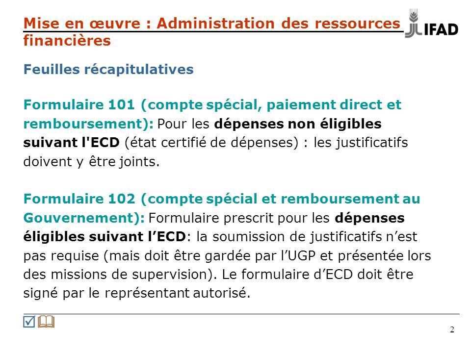 2 Formulaire 101 (compte spécial, paiement direct et remboursement): Pour les dépenses non éligibles suivant l'ECD (état certifié de dépenses) : les j
