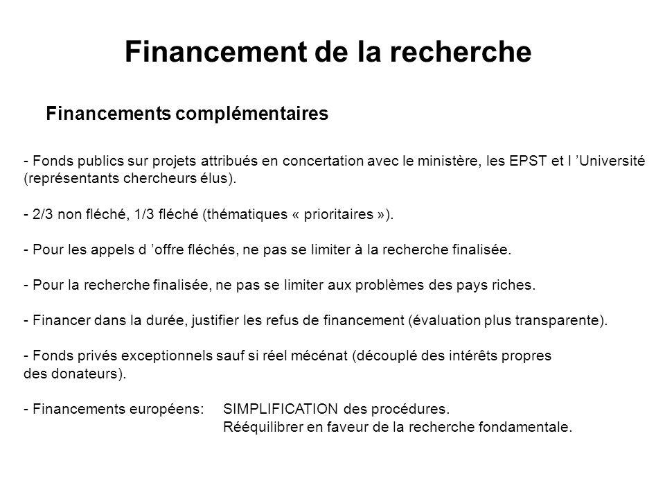 Financements complémentaires - Fonds publics sur projets attribués en concertation avec le ministère, les EPST et l Université (représentants chercheurs élus).