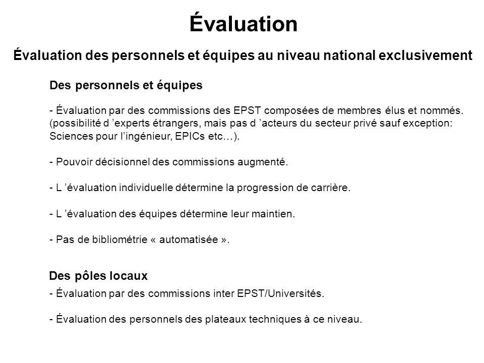 Évaluation Des pôles locaux Des personnels et équipes Évaluation des personnels et équipes au niveau national exclusivement - Évaluation par des commissions des EPST composées de membres élus et nommés.