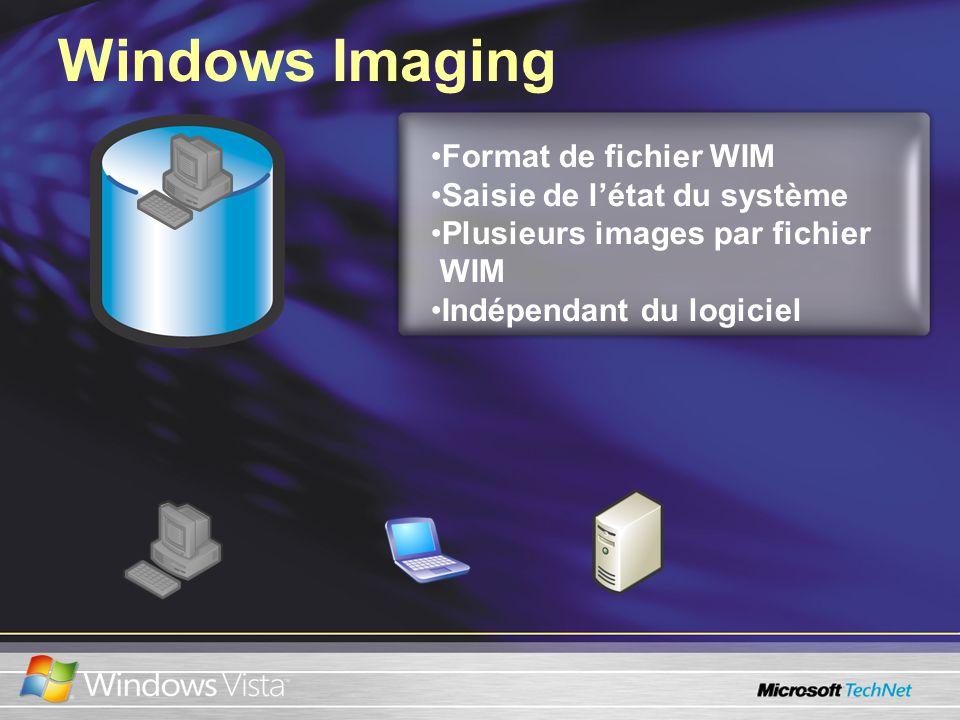 Windows Imaging Format de fichier WIM Saisie de létat du système Plusieurs images par fichier WIM Indépendant du logiciel