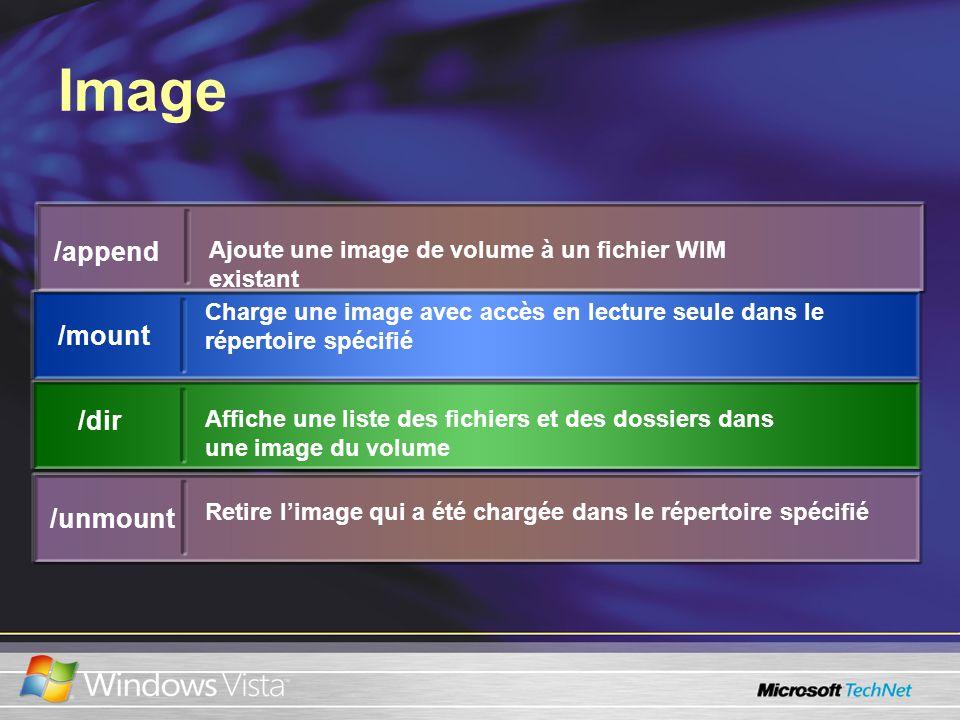 Image /append Ajoute une image de volume à un fichier WIM existant /mount Charge une image avec accès en lecture seule dans le répertoire spécifié /dir Affiche une liste des fichiers et des dossiers dans une image du volume /unmount Retire limage qui a été chargée dans le répertoire spécifié