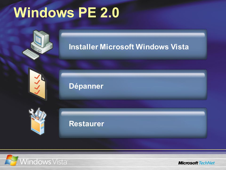 Windows PE 2.0 Dépanner Installer Microsoft Windows Vista Restaurer
