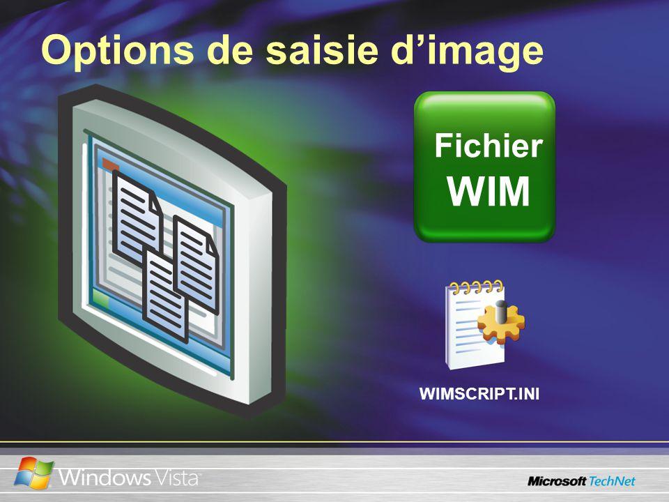 Options de saisie dimage Fichier WIM WIMSCRIPT.INI