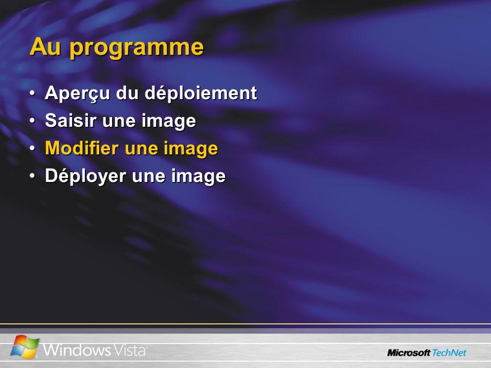Au programme Aperçu du déploiementAperçu du déploiement Saisir une imageSaisir une image Modifier une imageModifier une image Déployer une imageDéployer une image