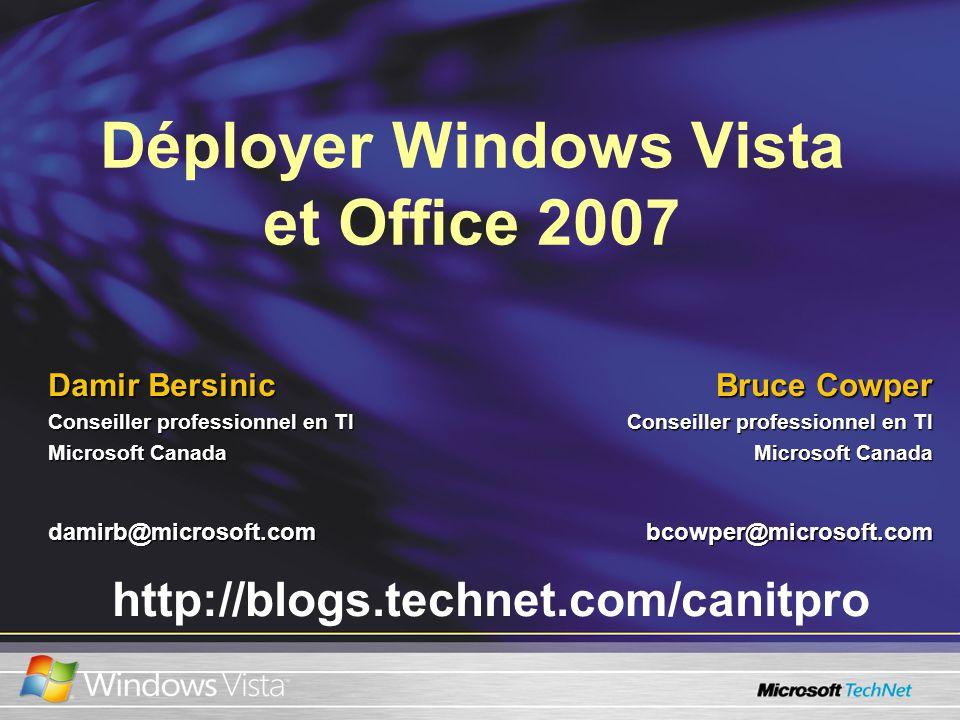 Pour obtenir plus de renseignements… Site Web principal de TechNet CanadaSite Web principal de TechNet Canada www.microsoft.ca/technet Site Web principal de Windows VistaSite Web principal de Windows Vista http://www.microsoft.com/windowsvista Blogue des professionnels en Ti du CanadaBlogue des professionnels en Ti du Canada http://blogs.technet.com/canitpro