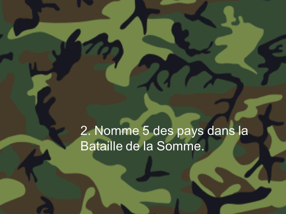 2. Nomme 5 des pays dans la Bataille de la Somme.