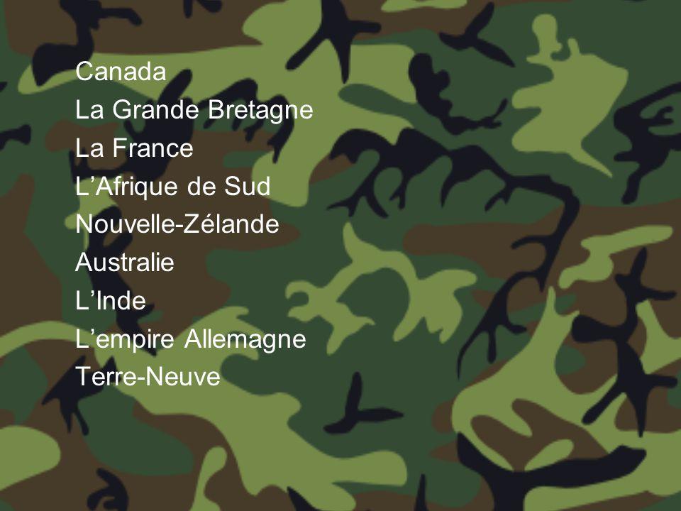 Canada La Grande Bretagne La France LAfrique de Sud Nouvelle-Zélande Australie LInde Lempire Allemagne Terre-Neuve