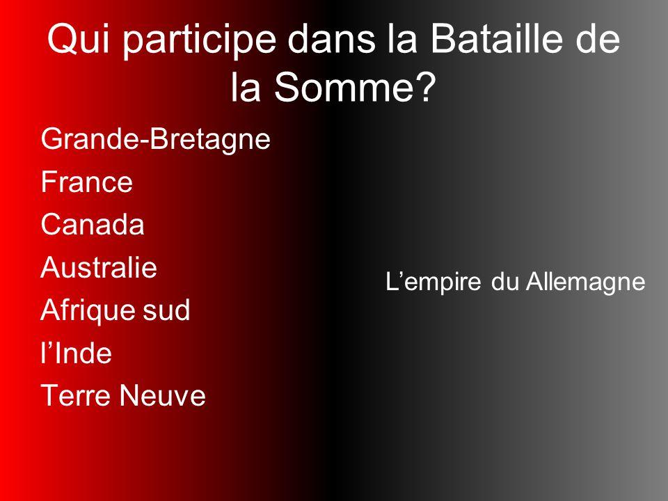 Qui participe dans la Bataille de la Somme? Grande-Bretagne France Canada Australie Afrique sud lInde Terre Neuve Lempire du Allemagne