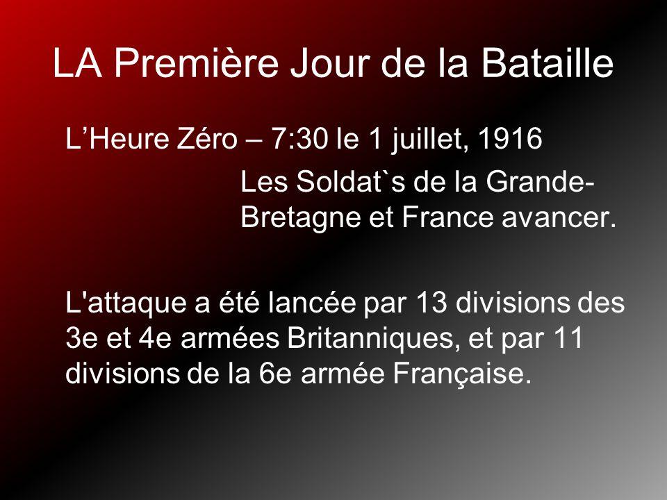LA Première Jour de la Bataille LHeure Zéro – 7:30 le 1 juillet, 1916 Les Soldat`s de la Grande- Bretagne et France avancer. L'attaque a été lancée pa