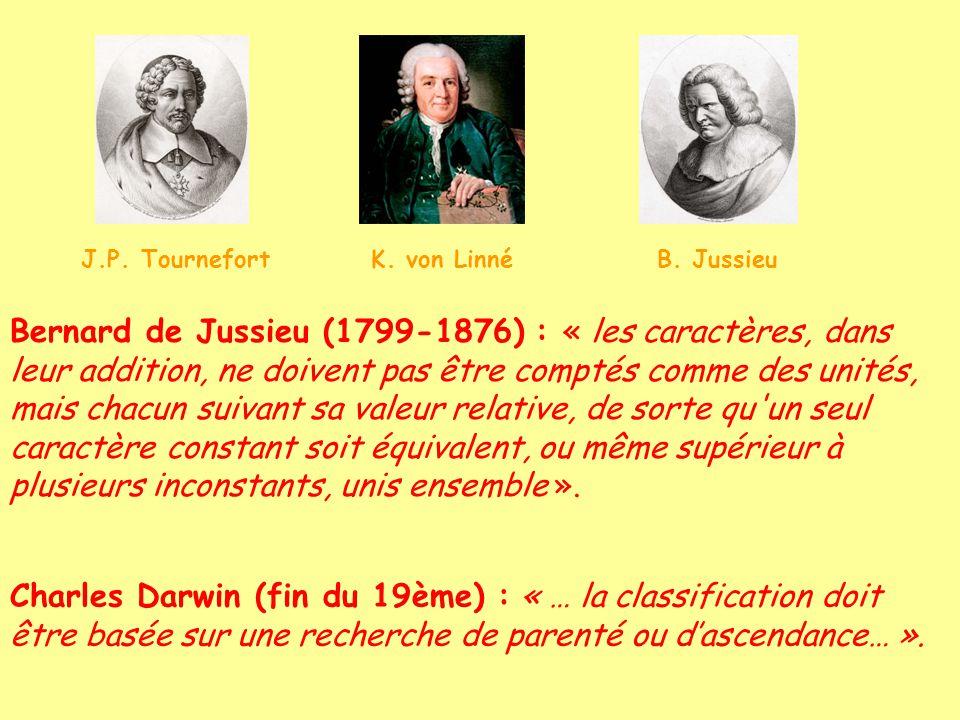 Bernard de Jussieu (1799-1876) : « les caractères, dans leur addition, ne doivent pas être comptés comme des unités, mais chacun suivant sa valeur relative, de sorte qu un seul caractère constant soit équivalent, ou même supérieur à plusieurs inconstants, unis ensemble ».