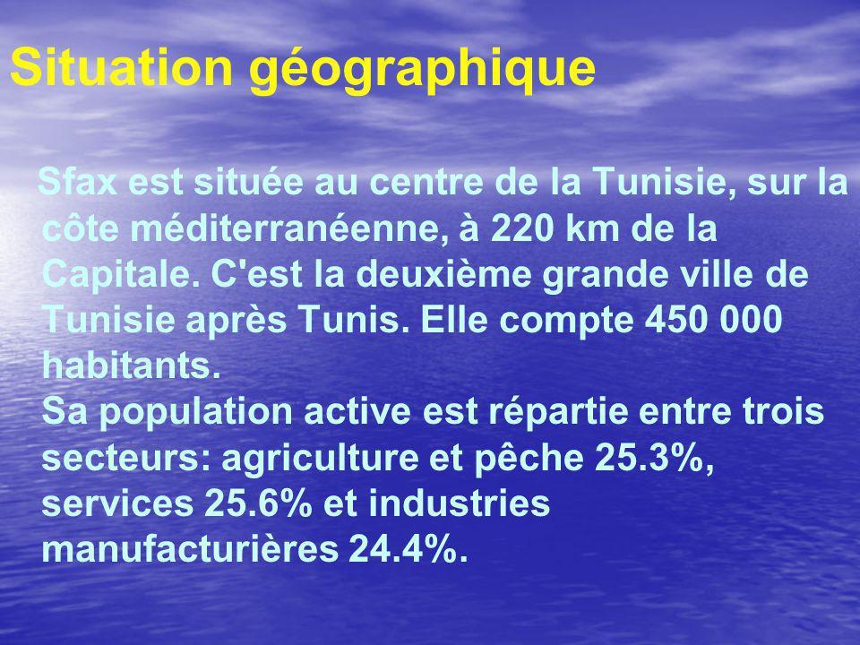 Situation géographique Sfax est située au centre de la Tunisie, sur la côte méditerranéenne, à 220 km de la Capitale.
