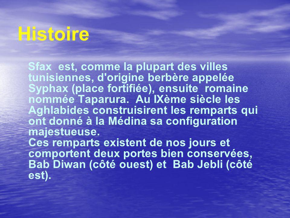 Histoire Sfax est, comme la plupart des villes tunisiennes, d origine berbère appelée Syphax (place fortifiée), ensuite romaine nommée Taparura.