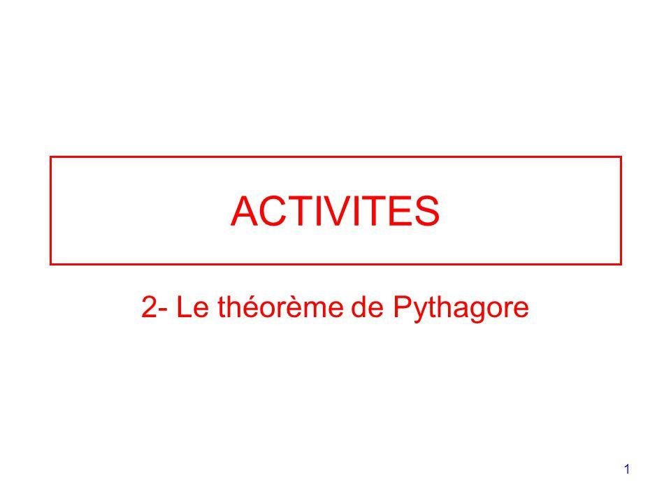 1 ACTIVITES 2- Le théorème de Pythagore
