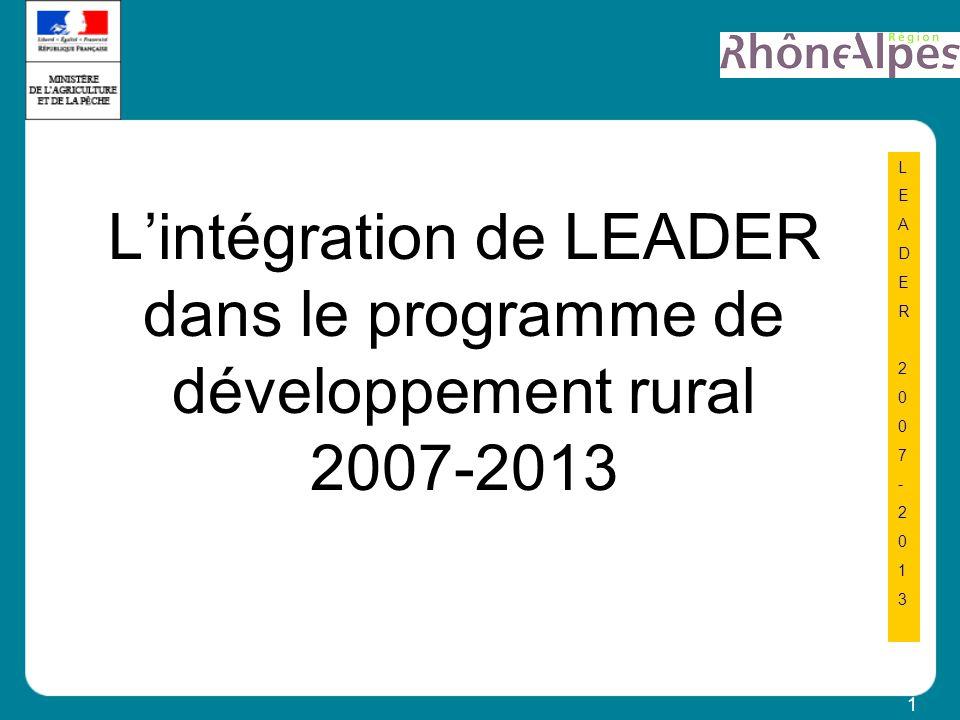1 LEADER2007-2013LEADER2007-2013 Lintégration de LEADER dans le programme de développement rural 2007-2013