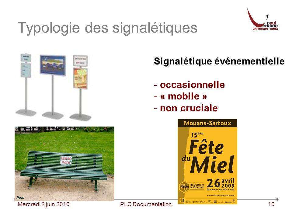 Mercredi 2 juin 2010PLC Documentation10 Typologie des signalétiques Signalétique événementielle - occasionnelle - « mobile » - non cruciale
