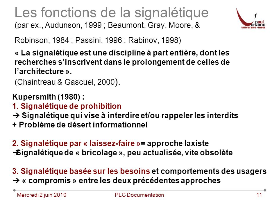 Mercredi 2 juin 2010PLC Documentation11 Les fonctions de la signalétique (par ex., Audunson, 1999 ; Beaumont, Gray, Moore, & Robinson, 1984 ; Passini,