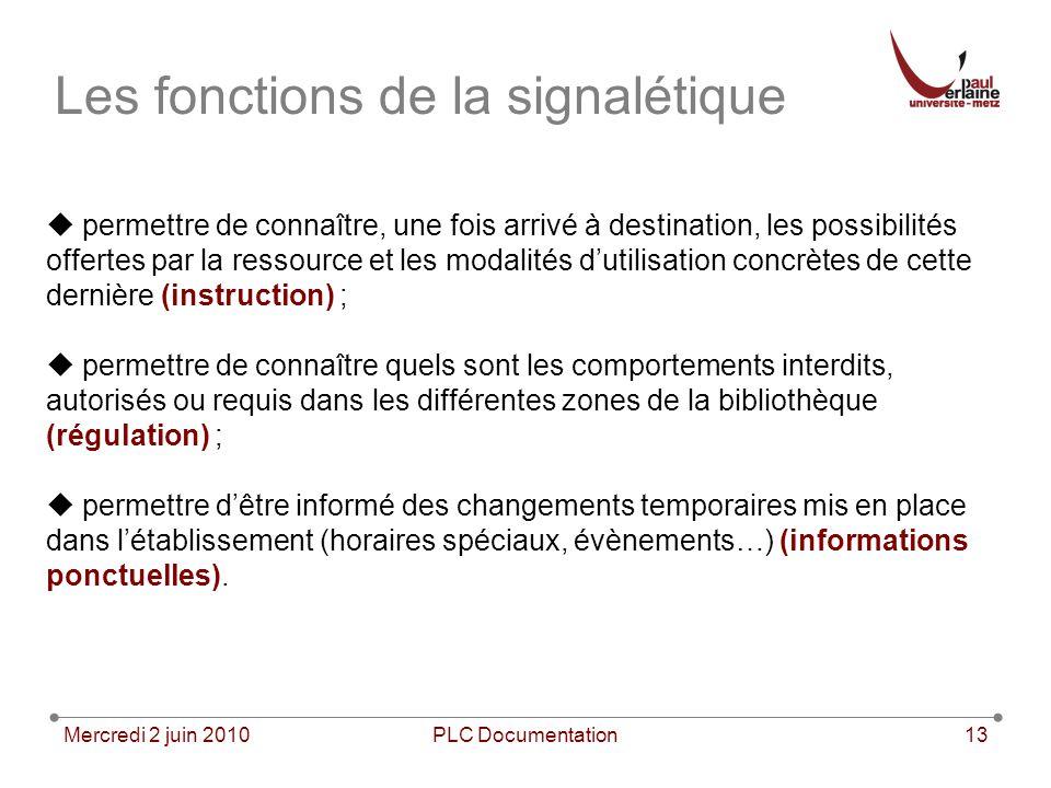 Mercredi 2 juin 2010PLC Documentation13 Les fonctions de la signalétique permettre de connaître, une fois arrivé à destination, les possibilités offer