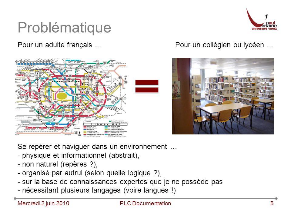 Problématique Mercredi 2 juin 2010PLC Documentation5 Pour un adulte français …Pour un collégien ou lycéen … Se repérer et naviguer dans un environneme