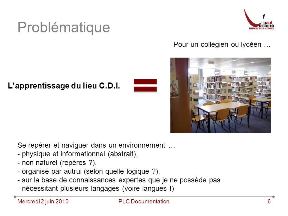 Problématique Mercredi 2 juin 2010PLC Documentation6 Lapprentissage du lieu C.D.I. Pour un collégien ou lycéen … Se repérer et naviguer dans un enviro