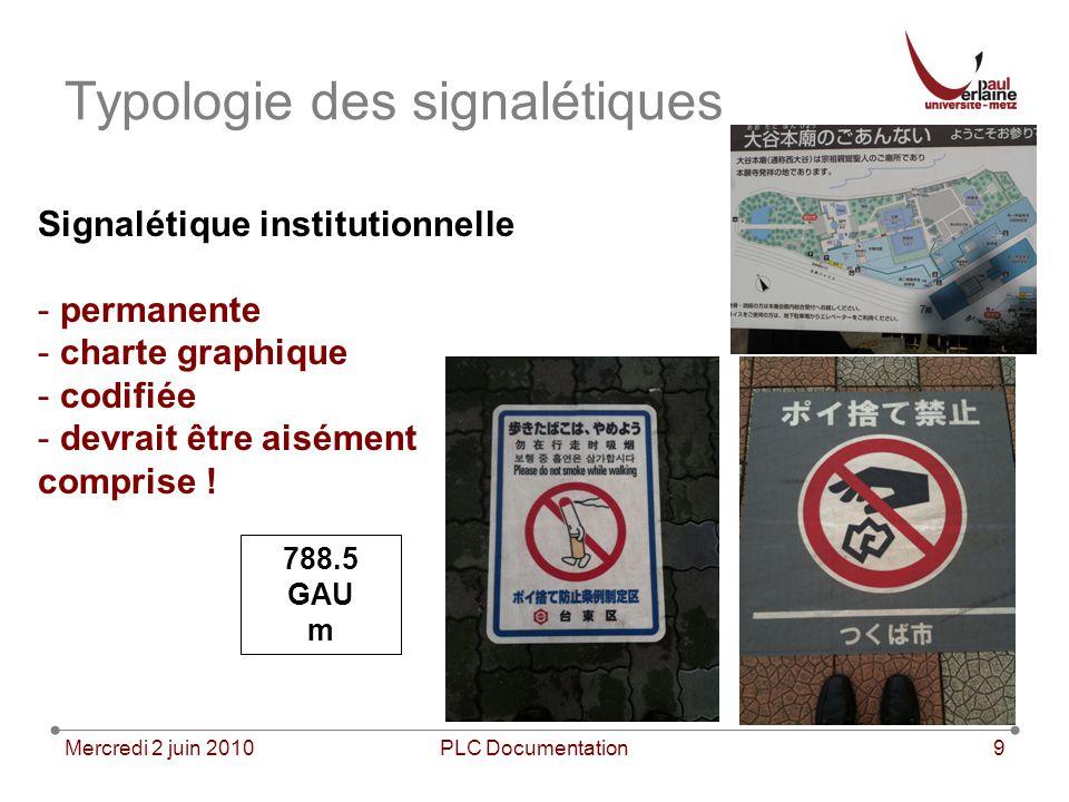 Mercredi 2 juin 2010PLC Documentation9 Typologie des signalétiques Signalétique institutionnelle - permanente - charte graphique - codifiée - devrait
