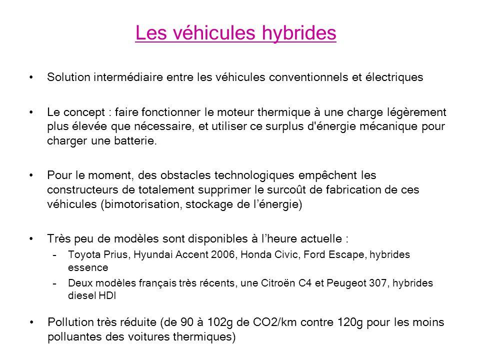 Solution intermédiaire entre les véhicules conventionnels et électriques Le concept : faire fonctionner le moteur thermique à une charge légèrement plus élevée que nécessaire, et utiliser ce surplus d énergie mécanique pour charger une batterie.