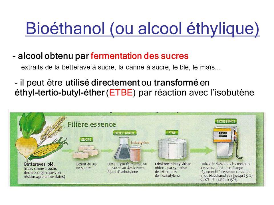 Bioéthanol (ou alcool éthylique) - alcool obtenu par fermentation des sucres extraits de la betterave à sucre, la canne à sucre, le blé, le maïs...
