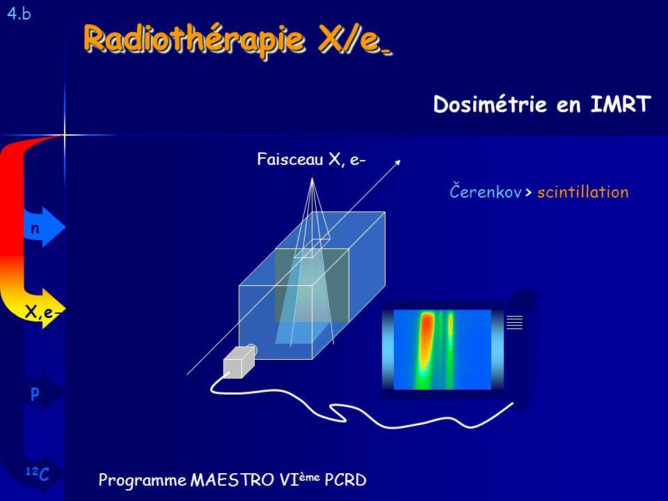 Radiothérapie X/e - 4.b Dosimétrie en IMRT Faisceau X, e- Programme MAESTRO VI ème PCRD 12 C p X,e- n Čerenkov > scintillation