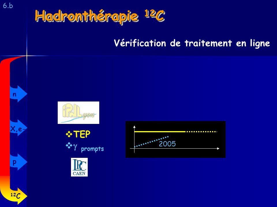6.b Vérification de traitement en ligne Hadronthérapie 12 C 2005 TEP prompts 12 C p X,e- n