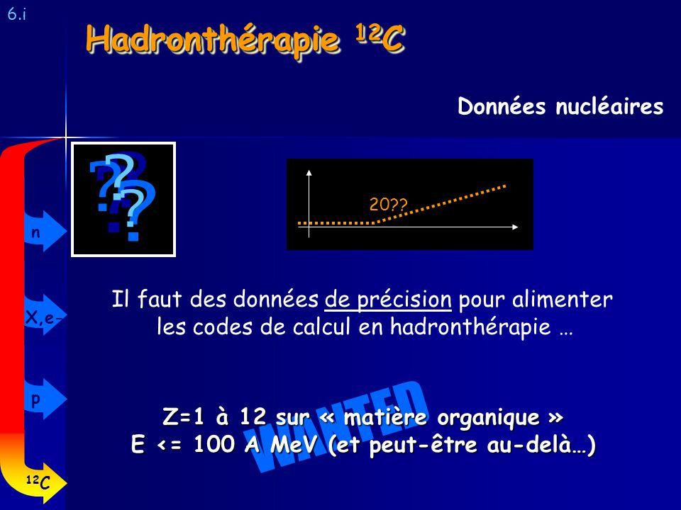 6.i Données nucléaires Hadronthérapie 12 C ? ? ? ? ? ? Il faut des données de précision pour alimenter les codes de calcul en hadronthérapie … 20?? WA