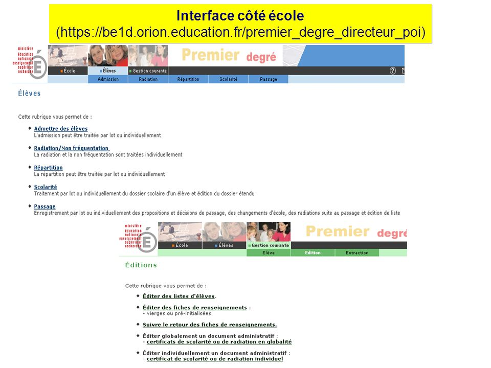 Interface côté école (https://be1d.orion.education.fr/premier_degre_directeur_poi)