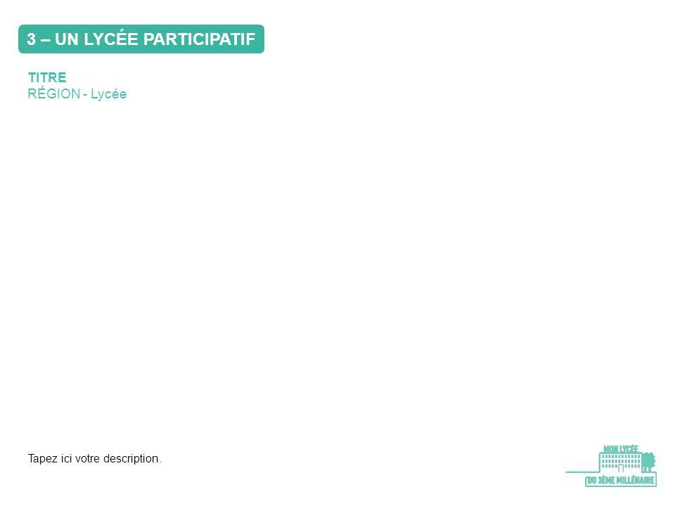 TITRE RÉGION - Lycée Tapez ici votre description. 3 – UN LYCÉE PARTICIPATIF