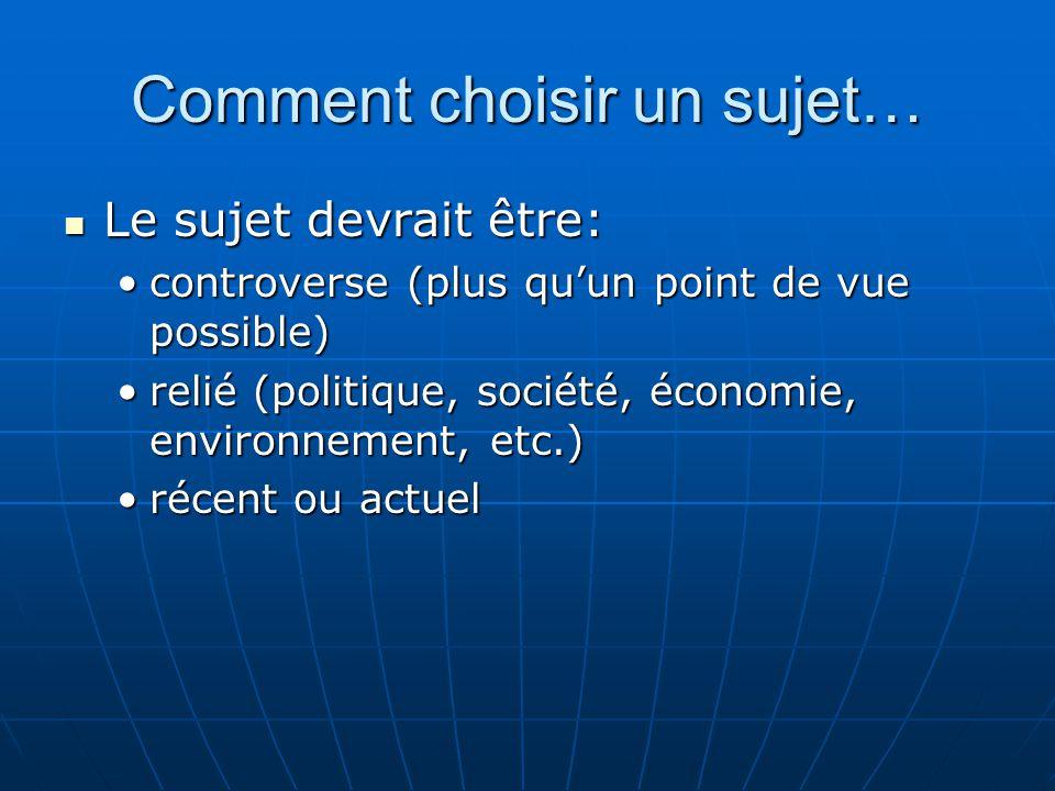 Comment choisir un sujet… Le sujet devrait être: Le sujet devrait être: controverse (plus quun point de vue possible)controverse (plus quun point de v