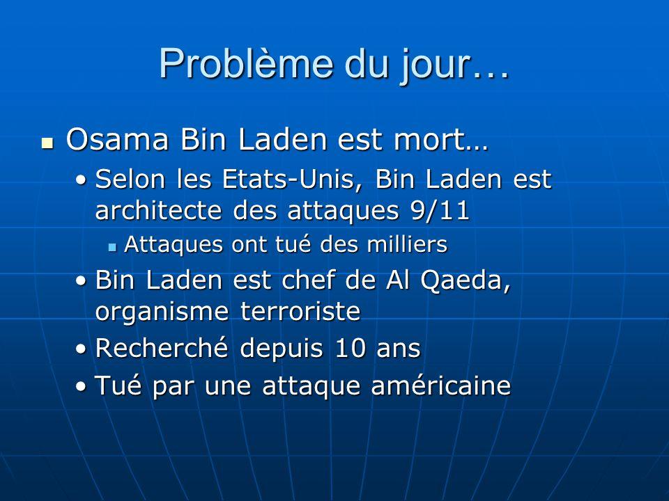 Problème du jour… Osama Bin Laden est mort… Osama Bin Laden est mort… Selon les Etats-Unis, Bin Laden est architecte des attaques 9/11Selon les Etats-