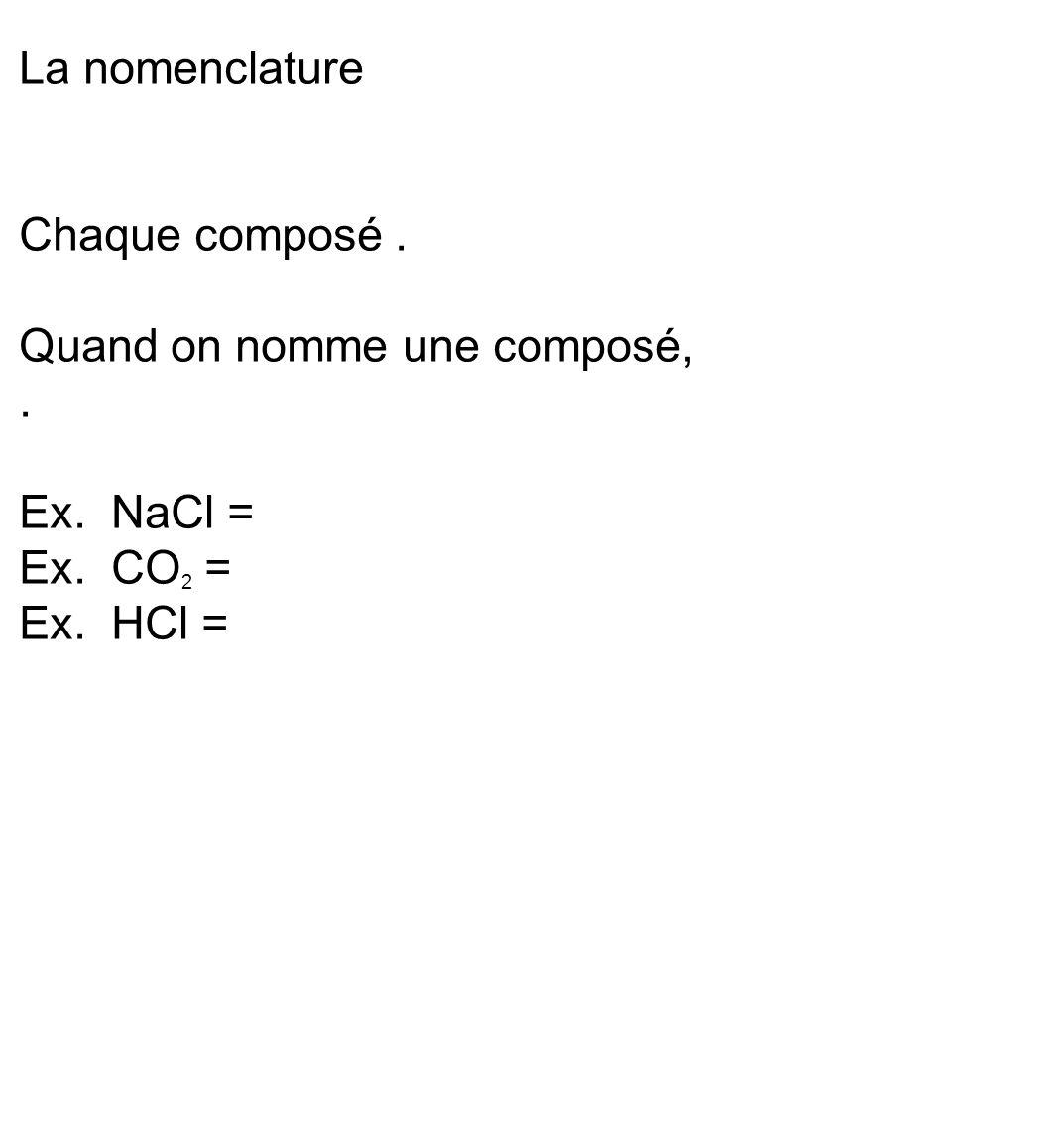 La nomenclature Chaque composé. Quand on nomme une composé,. Ex. NaCl = Ex. CO 2 = Ex. HCl =