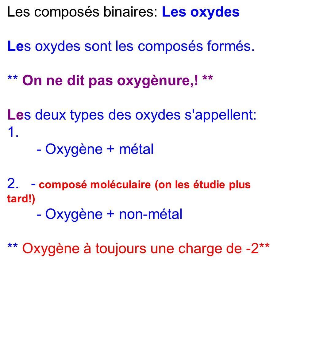 Les composés binaires: Les oxydes Les oxydes sont les composés formés. ** On ne dit pas oxygènure,! ** Les deux types des oxydes s'appellent: 1. - Oxy