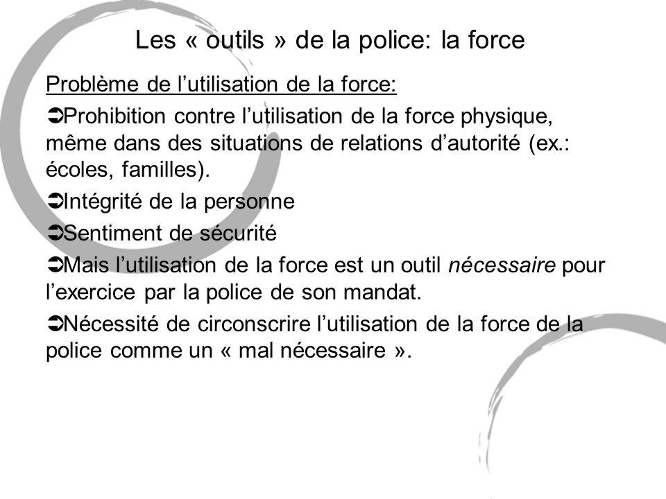 Les « outils » de la police: la force Problème de lutilisation de la force: Ü Prohibition contre lutilisation de la force physique, même dans des situ