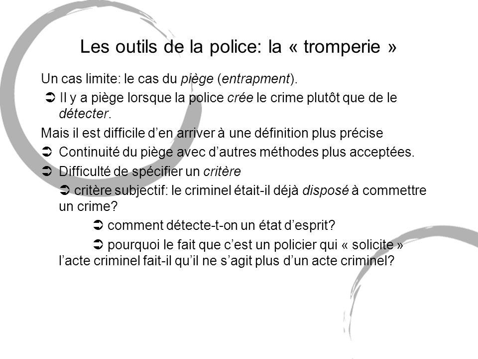 Les outils de la police: la « tromperie » Un cas limite: le cas du piège (entrapment). Il y a piège lorsque la police crée le crime plutôt que de le d