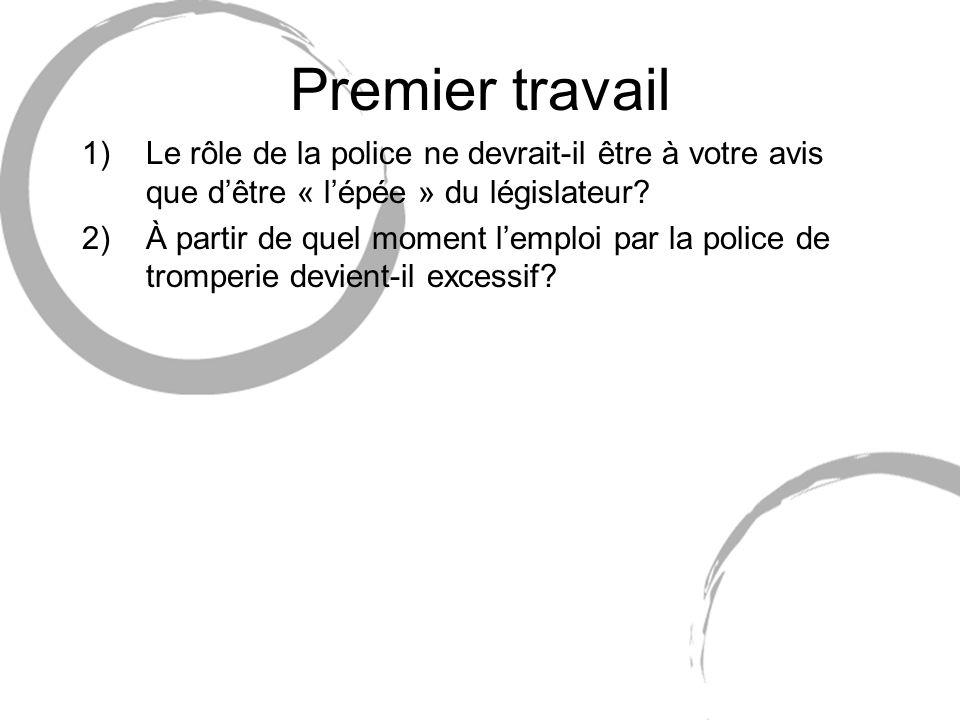 Premier travail 1)Le rôle de la police ne devrait-il être à votre avis que dêtre « lépée » du législateur? 2)À partir de quel moment lemploi par la po