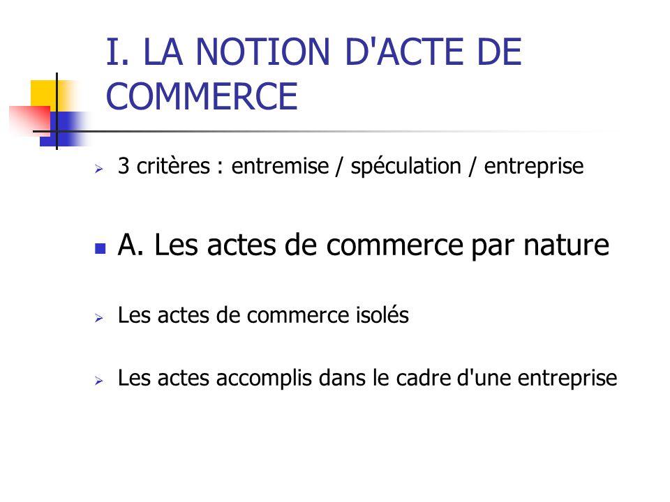 I.LA NOTION D ACTE DE COMMERCE 3 critères : entremise / spéculation / entreprise A.