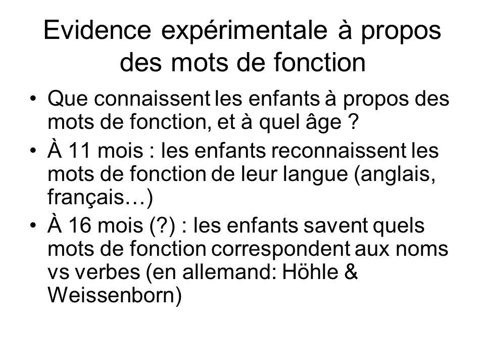 Evidence expérimentale à propos des mots de fonction Que connaissent les enfants à propos des mots de fonction, et à quel âge ? À 11 mois : les enfant