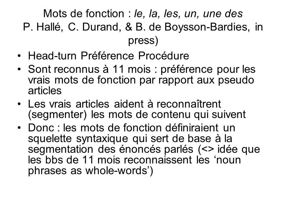 Mots de fonction : le, la, les, un, une des P. Hallé, C. Durand, & B. de Boysson-Bardies, in press) Head-turn Préférence Procédure Sont reconnus à 11