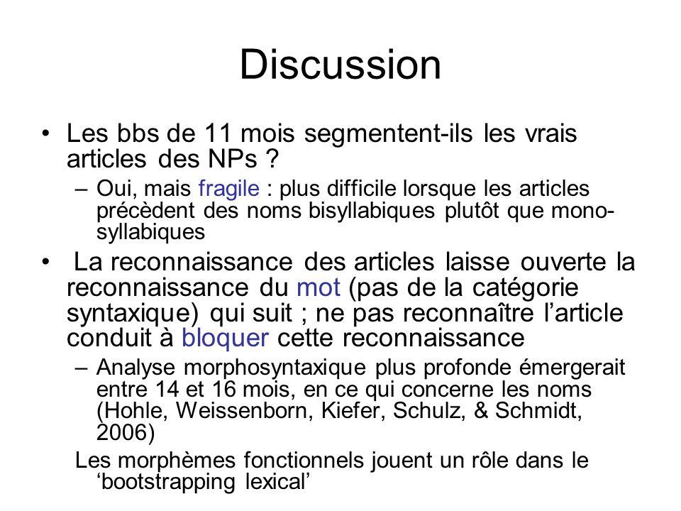 Discussion Les bbs de 11 mois segmentent-ils les vrais articles des NPs ? –Oui, mais fragile : plus difficile lorsque les articles précèdent des noms