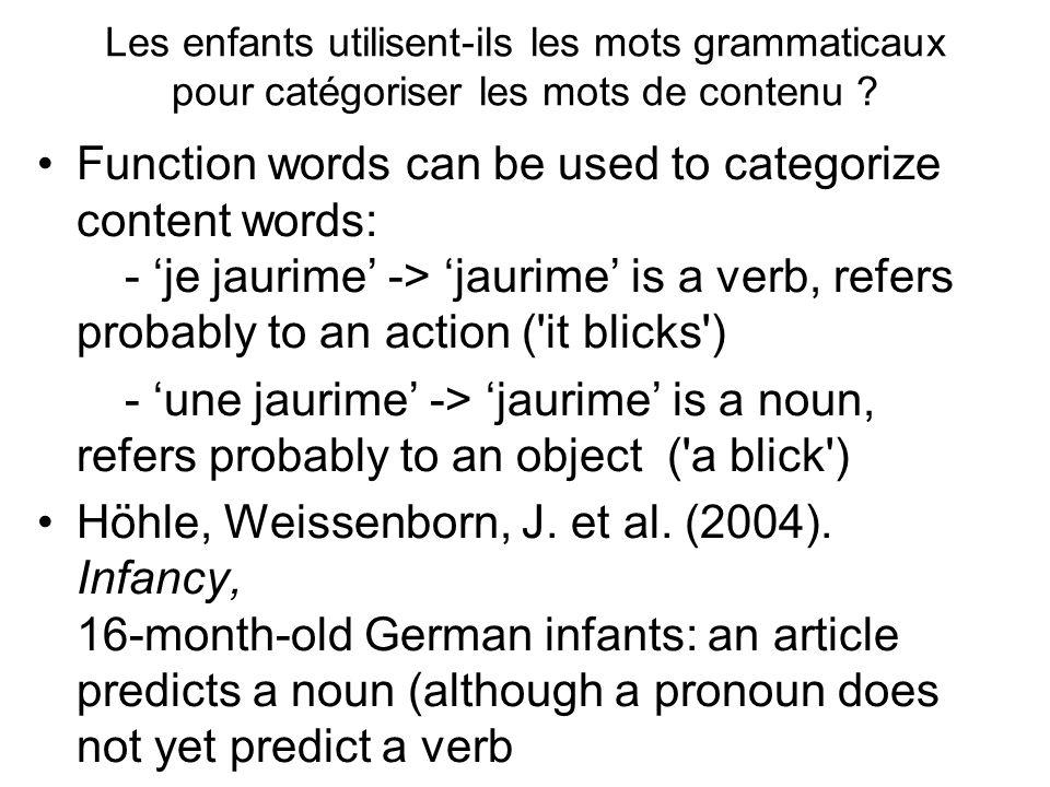Les enfants utilisent-ils les mots grammaticaux pour catégoriser les mots de contenu ? Function words can be used to categorize content words: - je ja