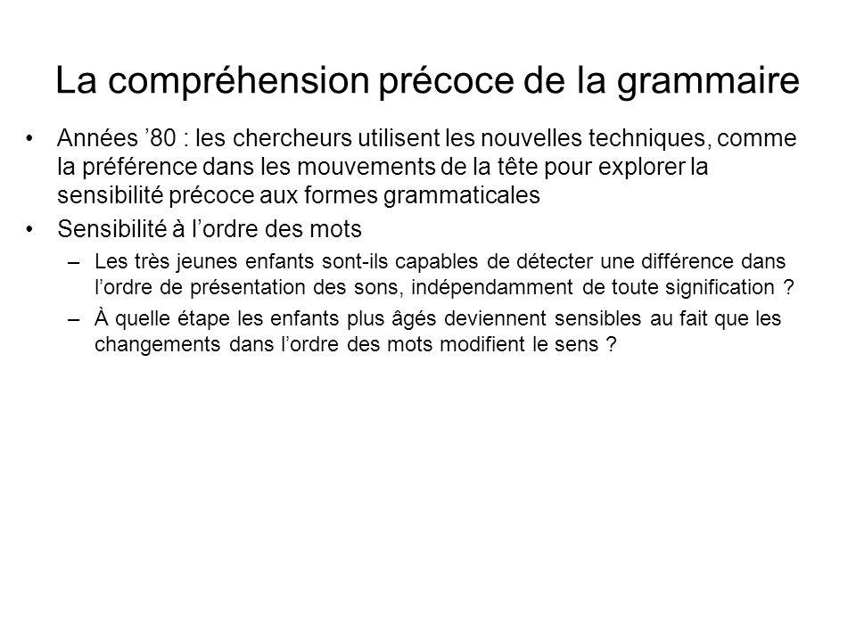 La compréhension précoce de la grammaire Années 80 : les chercheurs utilisent les nouvelles techniques, comme la préférence dans les mouvements de la