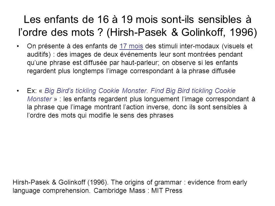 Les enfants de 16 à 19 mois sont-ils sensibles à lordre des mots ? (Hirsh-Pasek & Golinkoff, 1996) On présente à des enfants de 17 mois des stimuli in