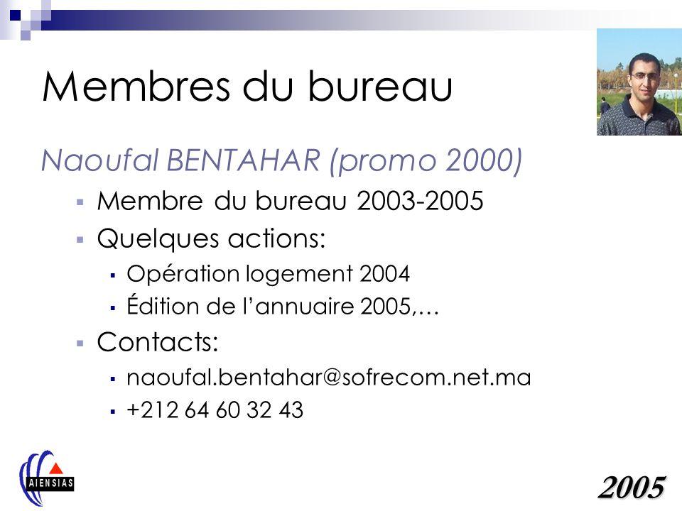 Membres du bureau Naoufal BENTAHAR (promo 2000) Membre du bureau 2003-2005 Quelques actions: Opération logement 2004 Édition de lannuaire 2005,… Conta