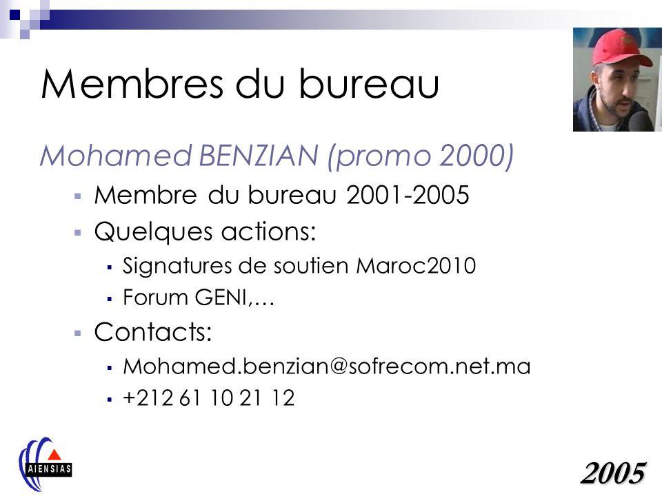 Membres du bureau Mohamed BENZIAN (promo 2000) Membre du bureau 2001-2005 Quelques actions: Signatures de soutien Maroc2010 Forum GENI,… Contacts: Mohamed.benzian@sofrecom.net.ma +212 61 10 21 12 2005