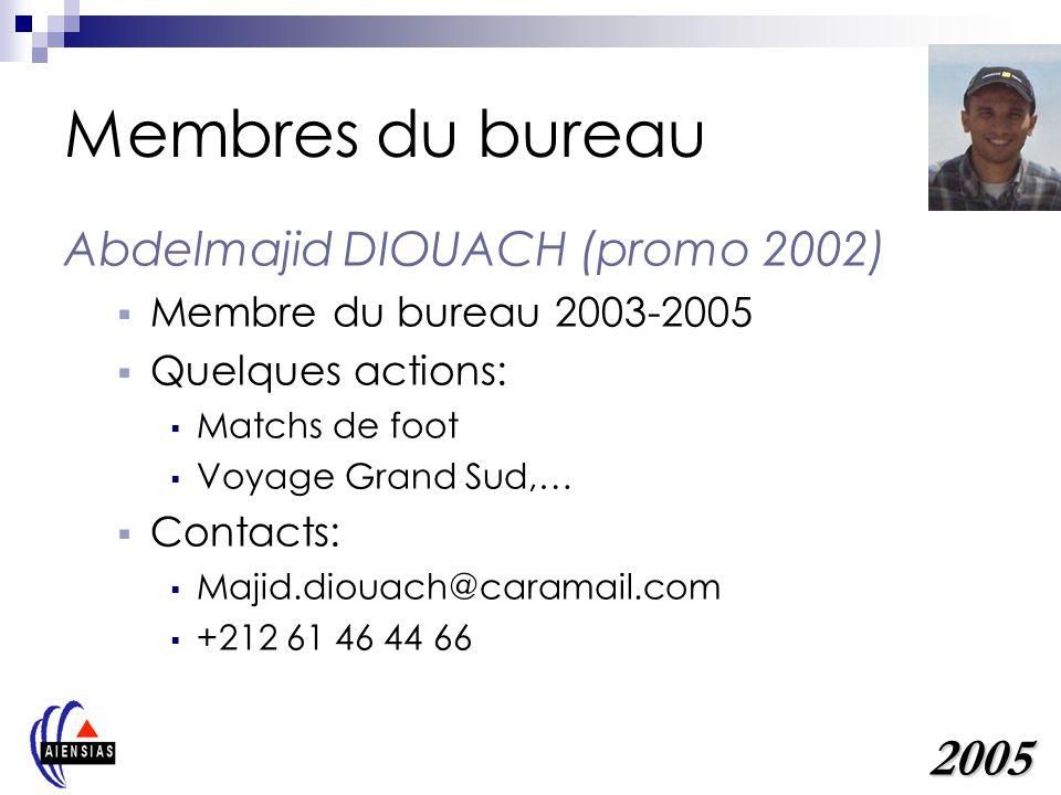 Membres du bureau Mohamed EL AICHI (promo 1999) Membre du bureau 2001-2003 Quelques actions: Opération cartable 2004 Horizon Citoyens,… Contacts: melaichi@intelcom.co.ma +212 61 19 90 76 2005
