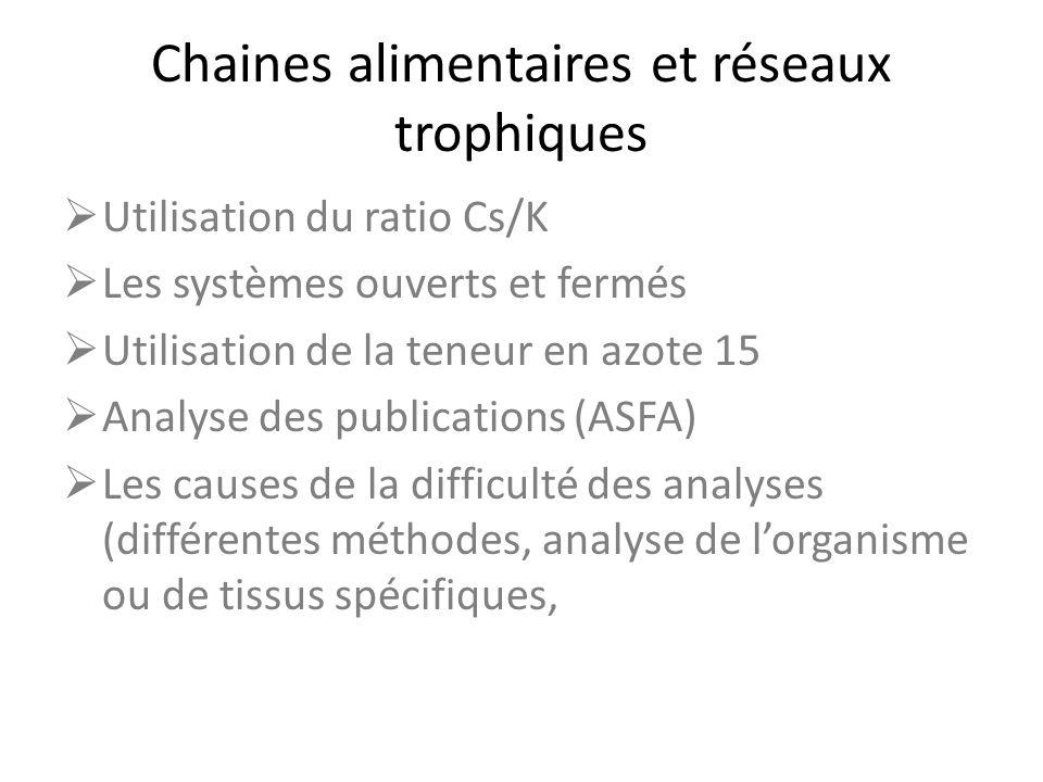 Chaines alimentaires et réseaux trophiques Utilisation du ratio Cs/K Les systèmes ouverts et fermés Utilisation de la teneur en azote 15 Analyse des p